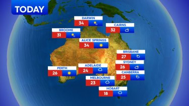 Friday, October 23: Possible shower expected for Brisbane, 27 degrees. Partly cloudy in Sydney, 26 degrees. 23 degrees and cloudy in Melbourne.