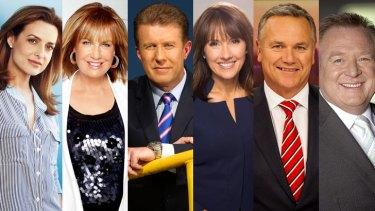Seven v Nine: Helen Kapalos, Tracy Grimshaw, Peter Overton, Chris Bath, Peter Mitchell and Peter Hitchener.