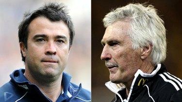 Geelong coach Chris Scott and Collingwood coach Mick Malthouse.