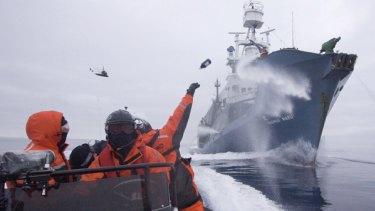 Sea Shepherd crew confront the Yushin Maru I in the Ross Sea.