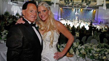 Bride Brynne Gordon and groom Geoffrey Edelsten.