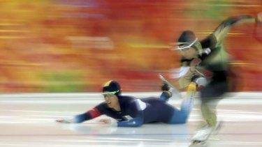 Nightmare: Daniel Greig falls in race one.