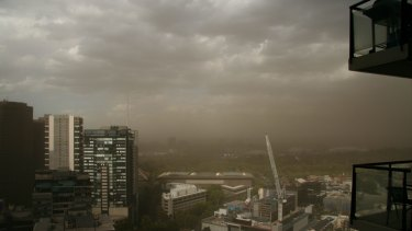 Dust storm over Melbourne.