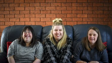 From left, Melanie Saleh, Belinda Cini and Jessica Shea at their share house in Geelong.