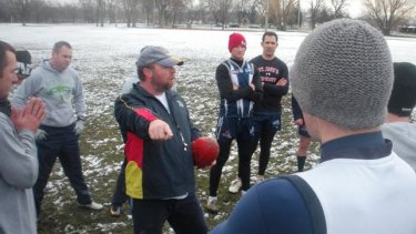 The Minnesota Freeze Aussie rules team practices in freezing conditions. <i>Photo supplied.</i>