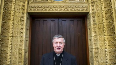 New Catholic Archbishop Christopher Prowse outside St Christopher's Cathedral in Manuka.