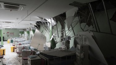 Damaged equipment at a hospital in Banyumas, central Java, following the earthquake.