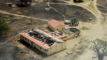 An arial view of the burnt-out classrooms of a school in Chibok, in Northeastern Nigeria, from where Boko Haram Islamist fighters seized 276 teenagers on the evening of April 14, 2014.