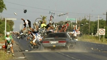 The collision near the Mexican-US border, captured on film by a Monterrey city official. One cyclist died and 10 were injured when the car ploughed into riders taking part in a road race. PICTURE: AP