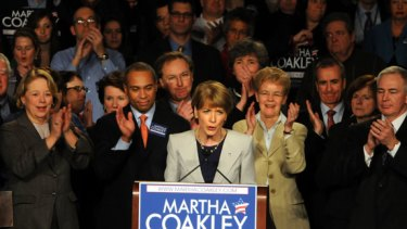 U.S. Senate Democratic nominee Martha Coakley gives a concession speech January 19, 2010 at the Sheraton Boston