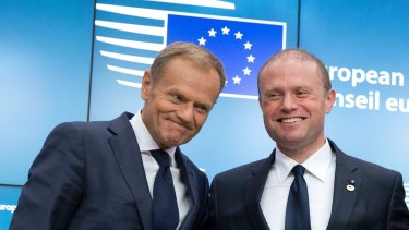 European Council President Donald Tusk, left, with Maltese Prime Minister Joseph Muscat at an EU summit in Brussels in June.