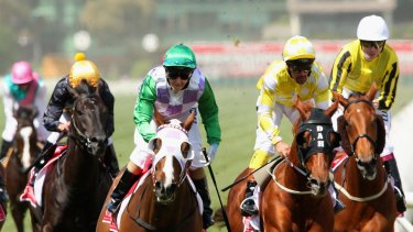 Michelle Payne rides Prince of Penzance to win the Melbourne Cup.