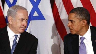 Tensions ... Benjamin Netanyahu meets Barack Obama on a 2011 visit to New York.