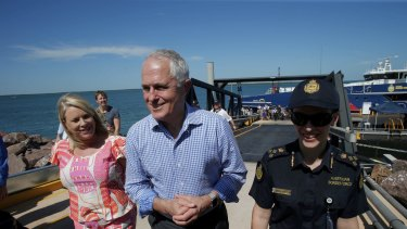 Prime Minister Malcolm Turnbull after he visited Border Force onboard the Cape Jervis patrol boat with local member Natasha Griggs in Darwin on Tuesday.
