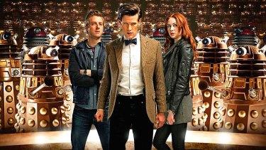 Who dares: Rory (Arthur Darvill), the Doctor (Matt Smith) and Amy (Karen Gillan).
