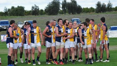 On the rise: The Mallee Eagles after one of their nine wins last season.