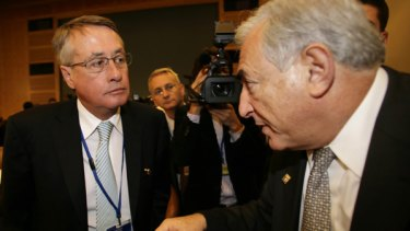 Treasurer Wayne Swan with former IMF boss Dominique Strauss-Kahn.