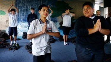 Giving peace a chance: Jerald Paul and Sione Ova, front, take part in a meditation class at Balgowlah Boys.