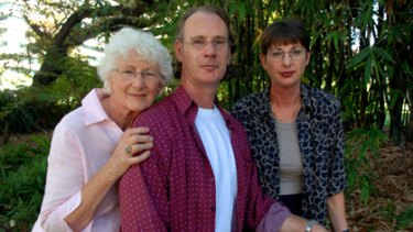 Andrew Mallard with his sister Jacqui and mum Grace.