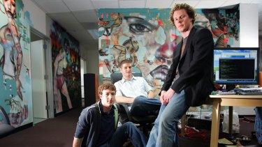 Sean Parker, right, with Mark Zuckerberg and Dustin Moskovitz in 2005.