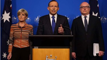 Prime Minister Tony Abbott announces the new security laws with Foreign minister Julie Bishop and Attorney-General Senator George Brandis.