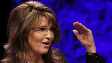 Notes on her hand ... Sarah Palin.