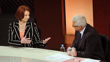 Julia Gillard with host Tony Jones on a previous <i>Q&A</i> appearance.