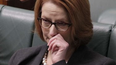 An emotional Prime Minister Julia Gillard introduces legislation in Parliament House.