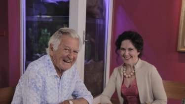 Meaty questions: Bob Hawke and Annabel Crabb in <i>Kitchen Cabinet</i>.