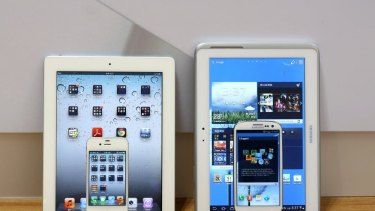 Infringement: Apple's iPad 2 and iPhone 4s, left, and Samsung's Galaxy Tab 10.1 and Galaxy S3.