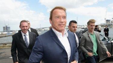 Arnold Schwarzenegger arrives in Melbourne on Friday.