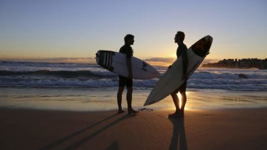 Dawn patrol: Riley Herman (right) and filmmaker Thomas Castets prepare for an early morning surf in a scene from Out in the Line-Up.