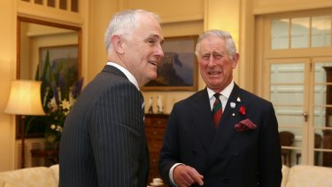 Prince Charles meets with Prime Minister Malcolm Turnbull at Government House in Canberra on Wednesday.