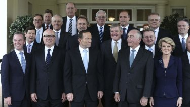 A new Parliament: PM Tony Abbott and his cabinet.