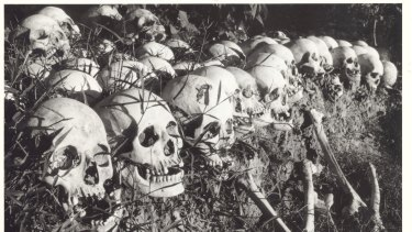 Exhumed remains from a mass grave near Phnom Penh.