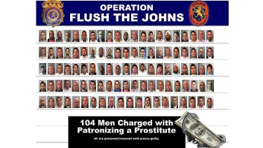 Name and shame: more than 100 men were arrested for soliciting sex from undercover officers.