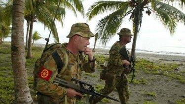 Diggers on patrol near Honiara in the Solomon Islands.