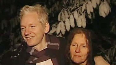 Julian Assange and his mother.