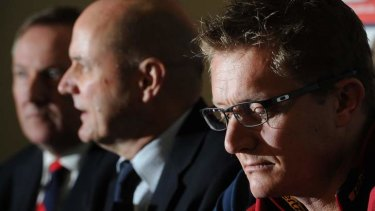 Melbourne's Peter Spargo (left),  Peter Jackson (centre) and sacked coach Mark Neeld.