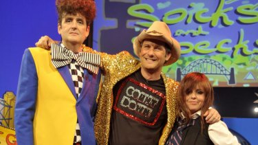 From left, Alan Brough, Adam Hills and Myf Warhurst sign off.