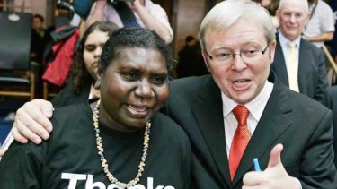Then prime minister Kevin Rudd with Raymattja Marika after delivering his apology in 2008.