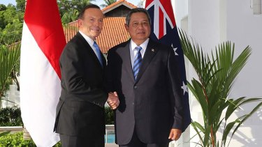 Mending fences: Prime Minister Tony Abbott meets Indonesian President Susilo Bambang Yudhoyono at a resort on Batam Island on Wednesday.