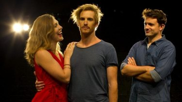 Matilda Ridgway, Michael Whalley and Matt Minto from <em>Cock</em>.