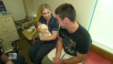 A nurse in training has been reunited with a mother and newborn boy whom she helped deliver on a bikeway in Brisbane.
