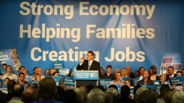 Premier Denis Napthine at the Coalition election campaign launch in Ballarat on Sunday.