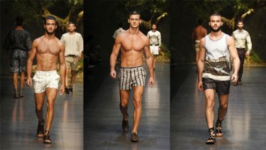 Guys hit the catwalk in a shorter style of short at the Dolce&Gabbana parade.