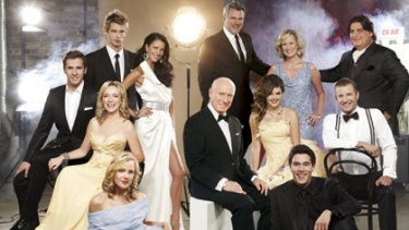 Striking a pose... Logie award nominees Luke Mitchell, Esther Anderson, Erik Thomson, Melissa Doyle, and Matt Preston. Seated Hugh Sheridan, Rebecca Gibney, Ray Meagher, Rebecca Breeds, and Luke Jacobz. Front, from left, Jessica Marais and James Stewart.
