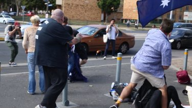 Protesters clash outside a Halal festival in Ascot Vale.