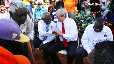 Prime Minister Kevin Rudd with Yirrkala indigenous leaders.