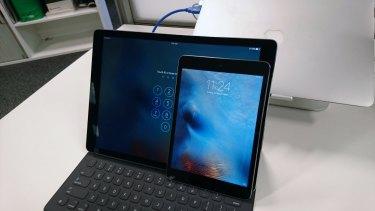 The iPad Pro alongside my suddenly tiny iPad Mini.